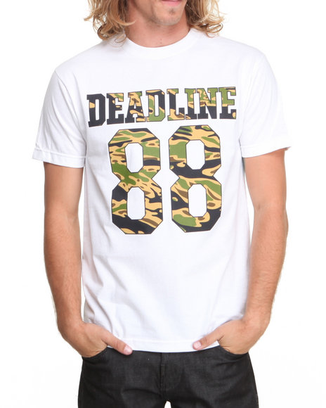 Deadline - Men White Tiger Camo Jersey Tee