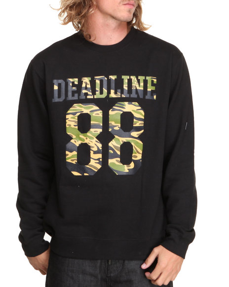 Deadline - Men Black Tiger Camo Jersey Crewneck Sweatshirt