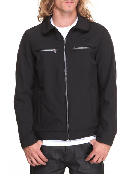 English Laundry Black Soft Shell Fleece Lined Jacket (Water Resistent)