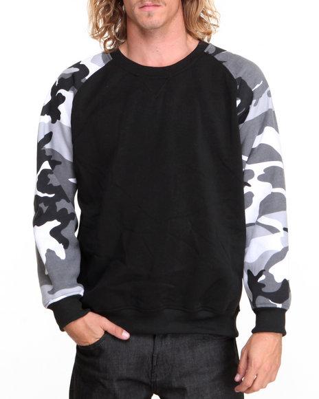 Basic Essentials Black,Camo Camo Raglan Crewneck Sweatshirt