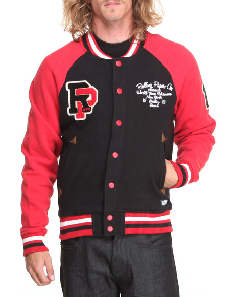 Rolling Paper Red Fleece Varsity Jacket