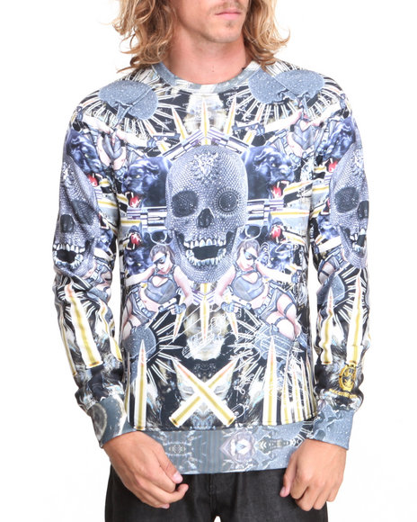 S - M - W - Men Black Lady Jay Sublimated Crewneck Sweatshirt