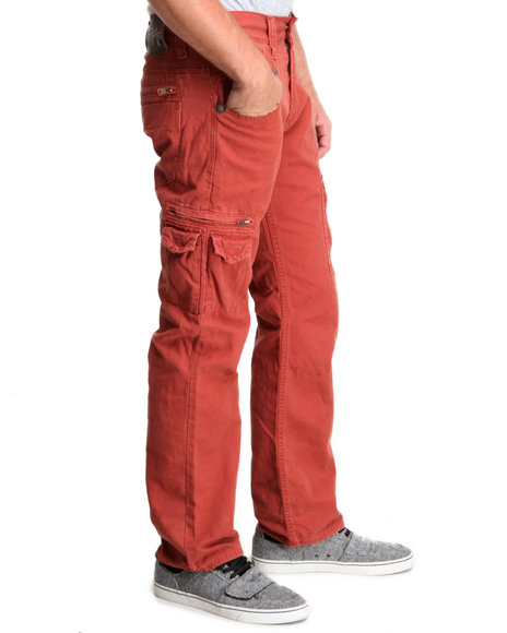 Buyers Picks - Men Red Twill Premium Washed Slim Fit Twill Pants