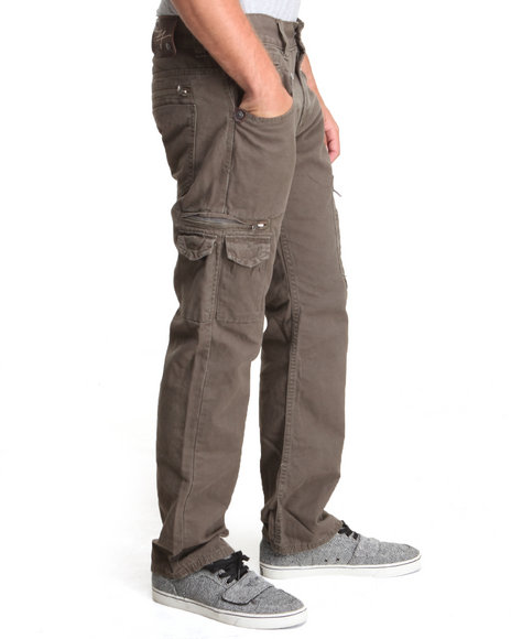 Buyers Picks - Men Olive Twill Premium Washed Slim Fit Twill Pants
