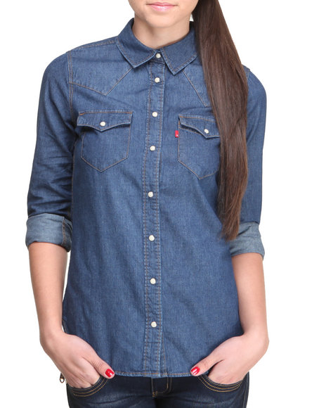 Levi's Dark Blue Classic Annie Denim Button Down Shirt