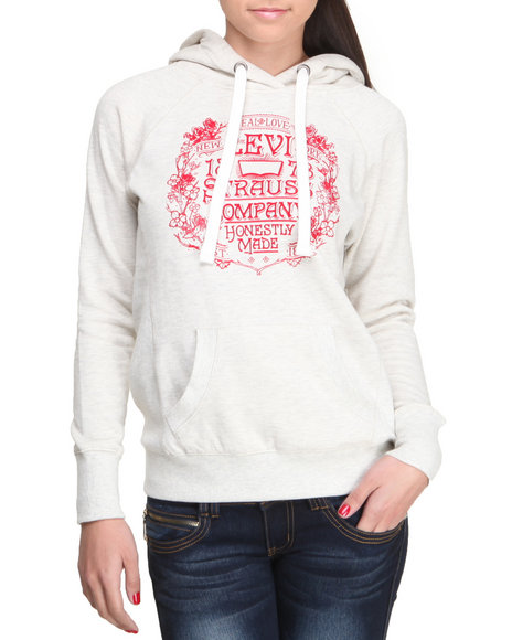 Levi's Grey Levi's Fleece Flocked Graphic Hoodie
