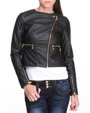Women - Kelly Lightweight Vegan Leather Jacket W/ Diamond Quilted Details