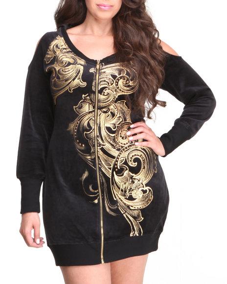 Apple Bottoms - Women Black Zip Front Cold Shoulder Velour Dress