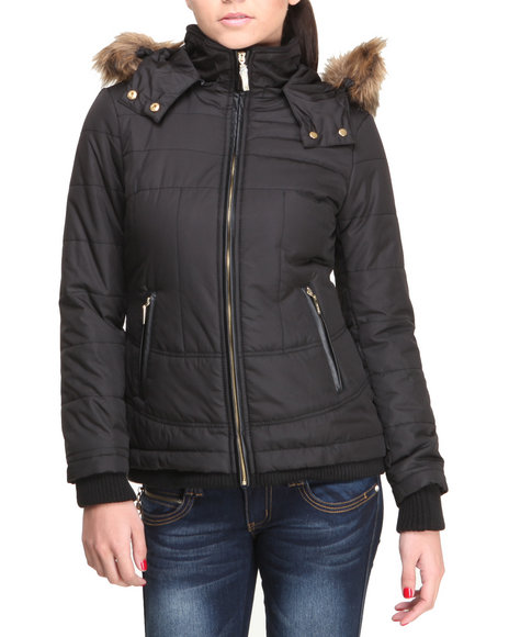 Kensie - Women Black Hooded Bomber Coat