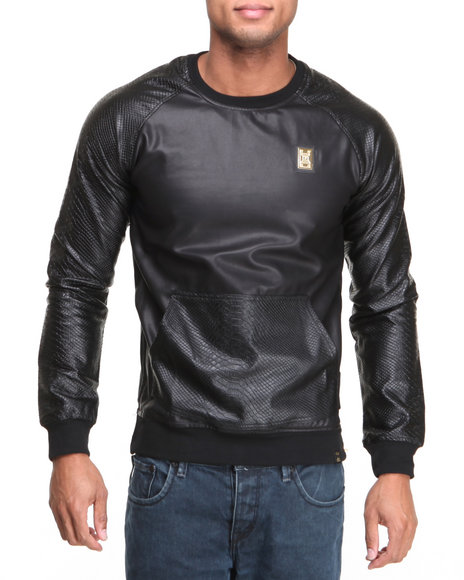 Forte' Black Python Faux Leather Sleeve Hoodie