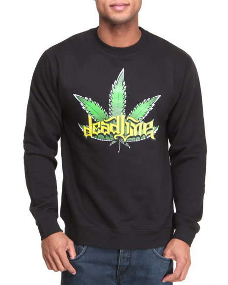 Deadline - Men Black Leaf Crewneck Sweatshirt