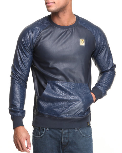 Forte' - Men Navy Python Faux - Leather Sleeve Sweatshirt