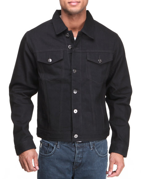 Mo7 - Men Black Mo7 Jet Black Classic Denim Jacket
