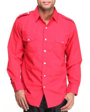 Men - Military Woven Long Sleeve Shirt
