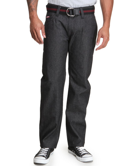 Enyce - Men Dark Wash High Road Belted Denim Jeans