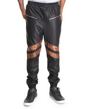 Men - Mixed PU Sweatpant