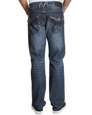 Men - Dk Indigo wash button flap back pocket