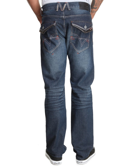Mo7 - Men Dark Indigo Dk Indigo Wash Button Flap Back Pocket