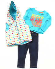 Girls - 3 PC SET - PUFFER VEST, TEE, & JEANS (INFANT)