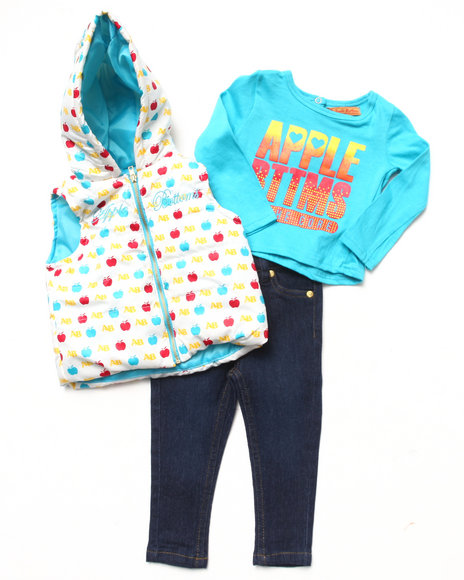 Apple Bottoms - Girls White 3 Pc Set - Puffer Vest, Tee, & Jeans (2T-4T)