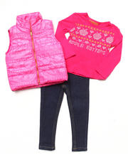 Girls - 3 PC SET - PUFFER VEST, TEE, & JEANS (2T-4T)
