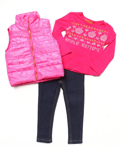 Apple Bottoms - Girls Pink 3 Pc Set - Puffer Vest, Tee, & Jeans (2T-4T)