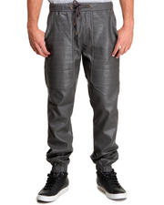 Men - Full Faux Leather Drawstring Jogger Pant