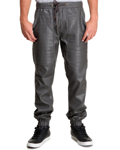 Kite Club - Men Grey Full Faux Leather Drawstring Jogger Pant