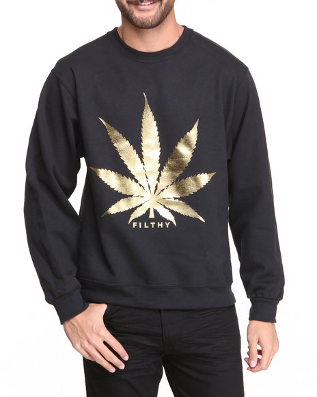 Filthy Dripped - Men Black Leaf Foil Crew Sweater