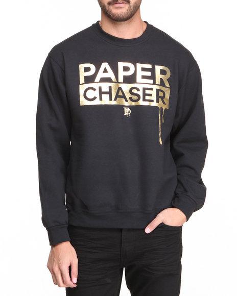 Filthy Dripped - Men Black Paper Chaser Foil Crew Sweater