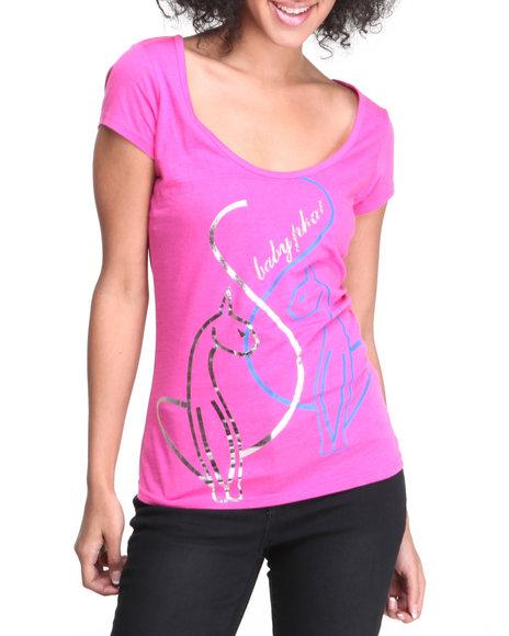 Baby Phat - Women Pink Cat Scoop Neck Tee - $10.99