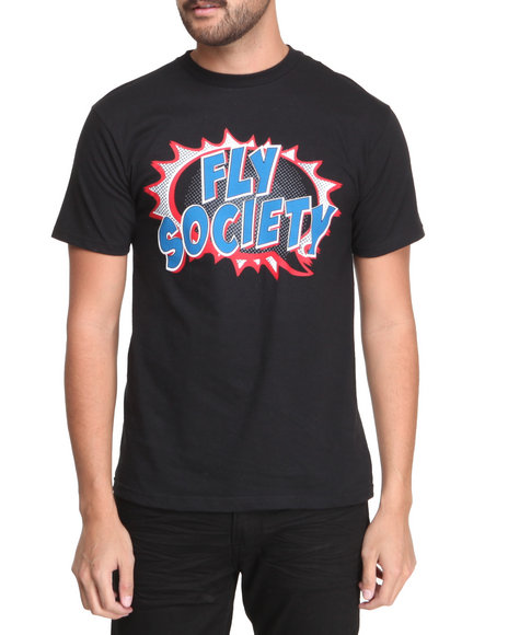 Flysociety - Men Black Comic T-Shirt