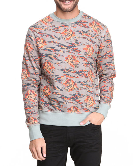 Under Two Flags Multi Tiger Print French Terry Premium Sweatshirt