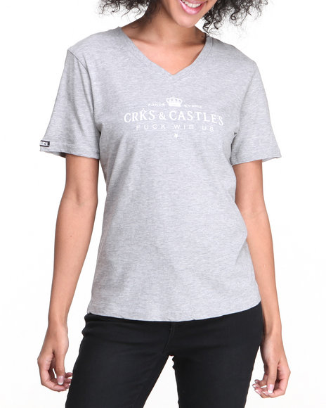 Crooks & Castles - Women Grey Imperial Knit V-Neck T-Shirt - $12.99