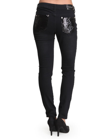 Baby Phat - Women Black,Medium Wash Sequin Back Pocket Skinny Jean