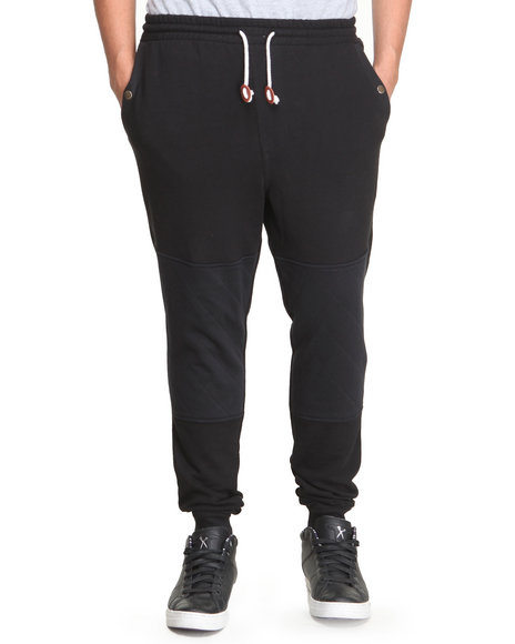 Under Two Flags - Men Black Pieced Premium Tapered Sweatpants