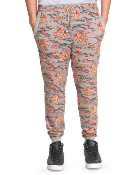 Under Two Flags - Men Multi Tiger Print Tapered Premium Sweatpants
