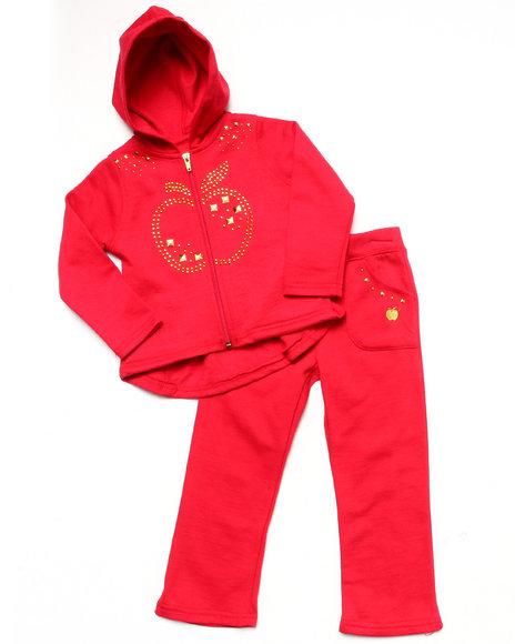 Apple Bottoms Girls Red 2 Pc Fleece Set (Infant)