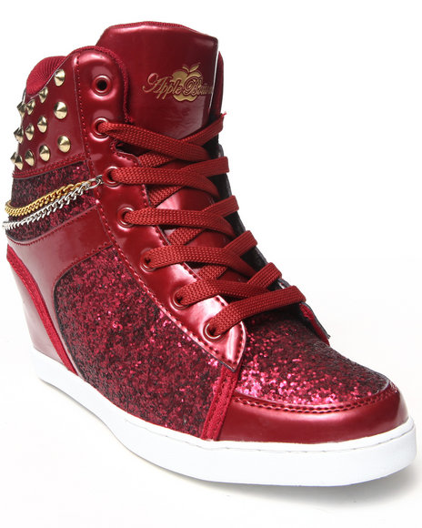 Apple Bottoms - Women Dark Red Kadenza Glitter, Chain, Studs, Wedge Sneaker - $40.00