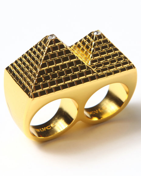 Blvck Scvle Men Pyramid 2 Finger Ring Gold 1SZ
