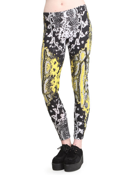 Motel - Women Yellow Neon Scales Leggings