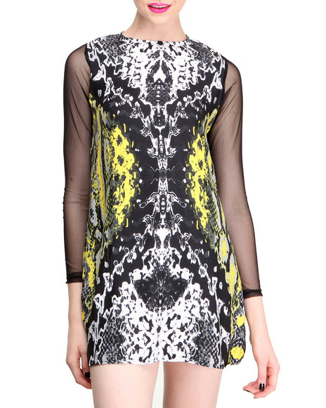 Motel - Women Yellow Neon Scales Isabel Dress