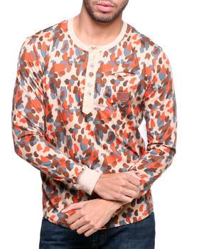 Under Two Flags - Sage Camo Slub Henley Shirt