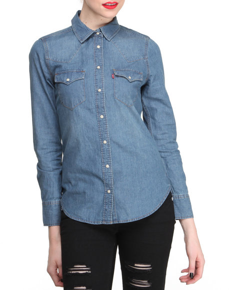 Levi's Blue Classic Annie Denim Button Down Shirt