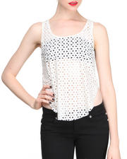 Fashion Lab - Laser Cut Vegan Leather Front Tank