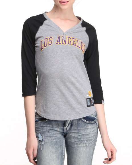 NBA MLB NFL Gear - Lakers Baseline Henley Tee