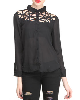Fashion Lab - Chiffon Cutout Front Button Down Shirt