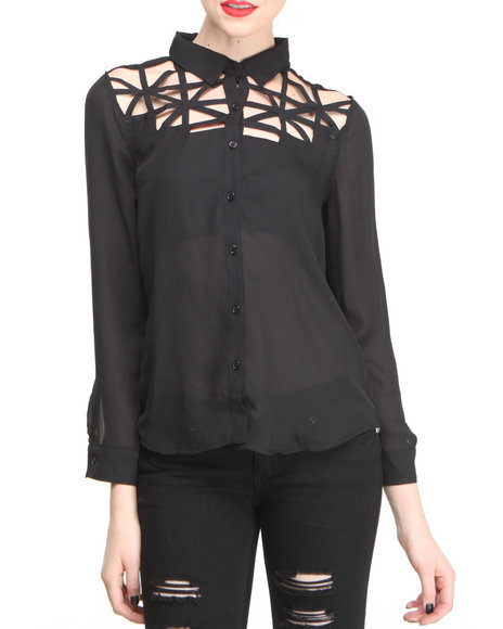 Fashion Lab - Women Black Chiffon Cutout Front Button Down Shirt - $13.99