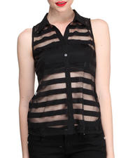 Fashion Lab - Illusion Sheer Striped Sleeveless Button Down Shirt