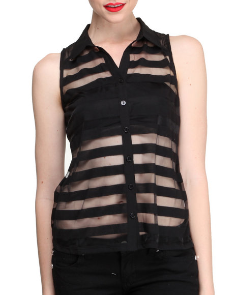 Fashion Lab - Women Black Illusion Sheer Striped Sleeveless Button Down Shirt